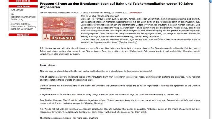 Brandsätze in Berlin: Alarm bei der Bahn