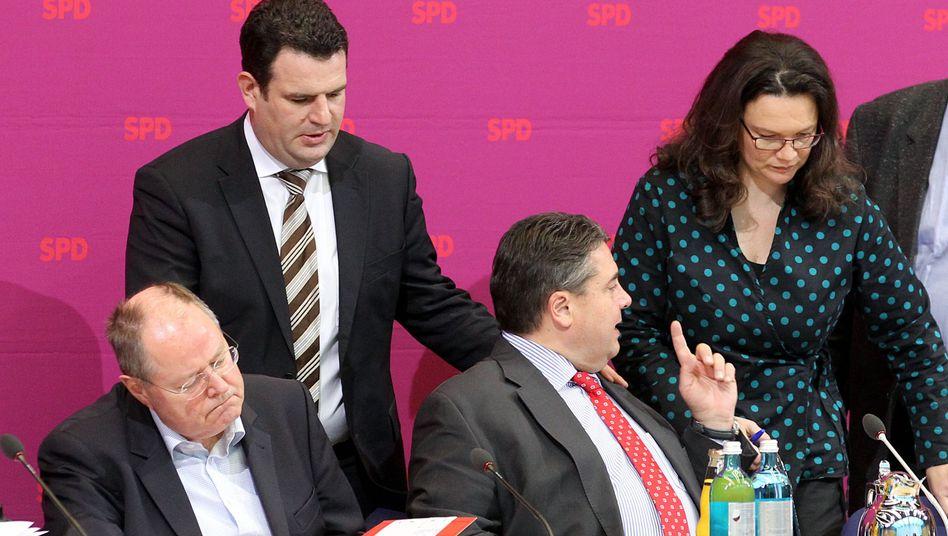 SPD-Spitzenpolitiker Steinbrück, Heil, Gabriel, Nahles