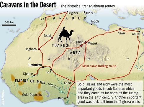 The historical trans-Saharan trading routes.