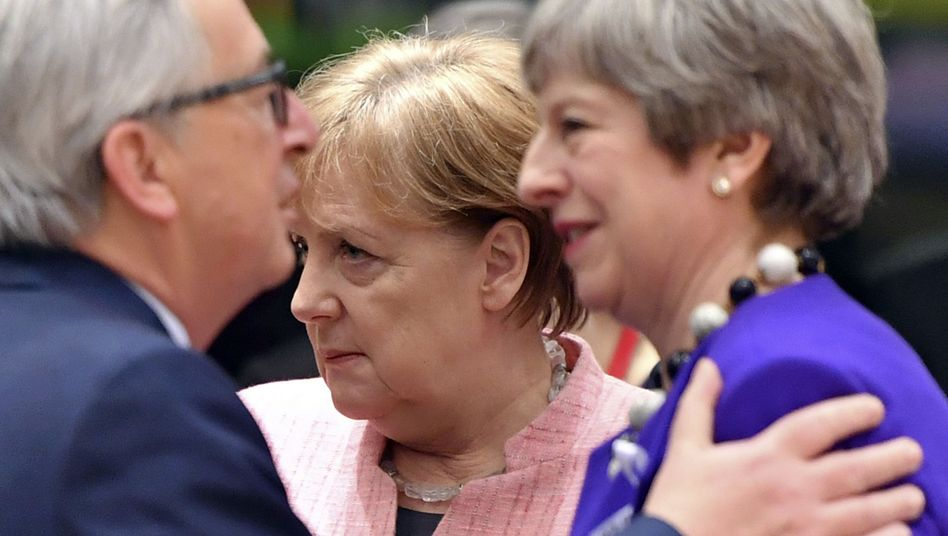 Juncker, Merkel, May beim EU-Gipfel in Brüssel
