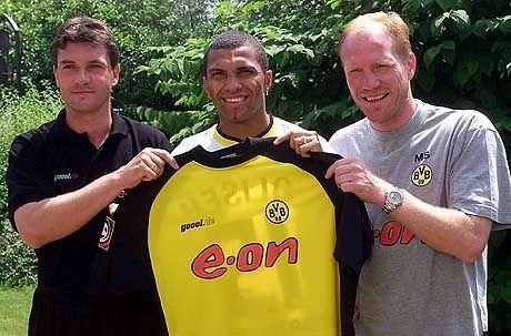 Marcio Amoroso mit Trainer Sammer und Manager Michael Zorc