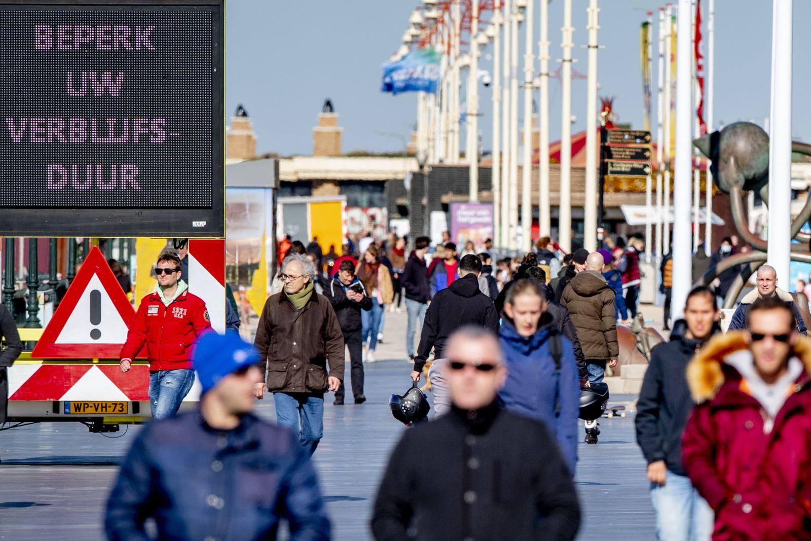 Crowded boulevard of Scheveningen in The Hague, Netherlands - 22 Mar 2020