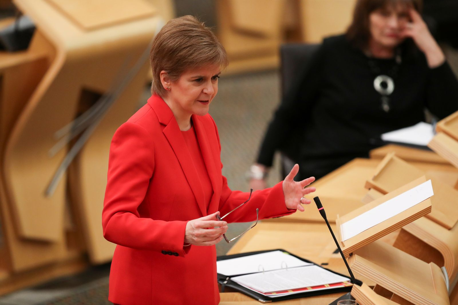 FILE PHOTO: Scottish First Minister Sturgeon speaks at Parliament in Edinburgh