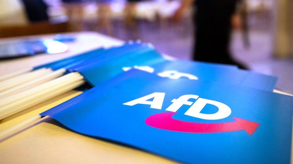 AfD-Fahnen (Symbolbild): Rolf Kahnt will künftig als parteiloser Abgeordneter im Hessischen Landtag bleiben