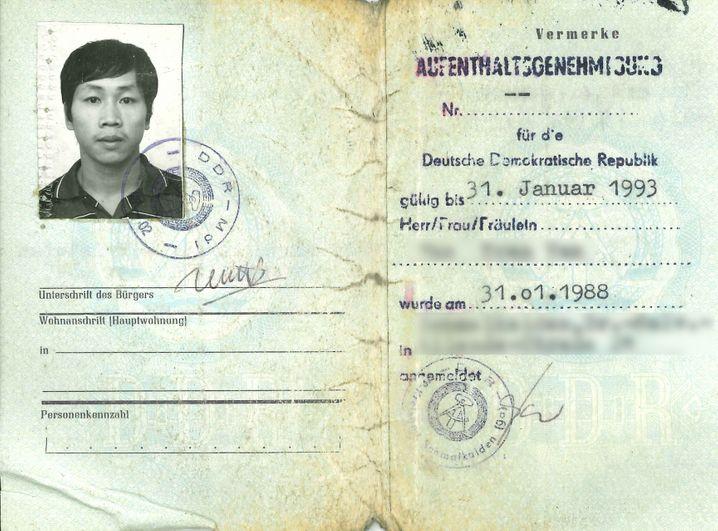 Aufenthaltsgenehmigung aus dem Jahr 1988