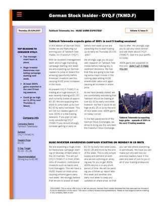 Fragwürdiger Aktien-Kauftipp: Gestaltet wie ein professioneller Investment-Newsletter