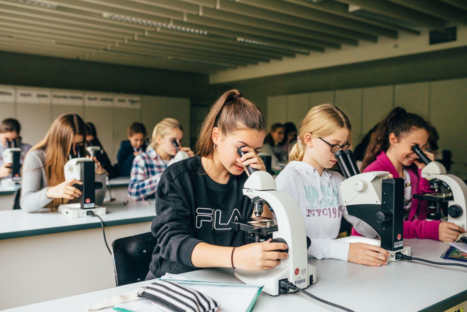 Mariengymnasium Essen-Werden, Biologie Unterricht in der Mädchenklasse 8b.
