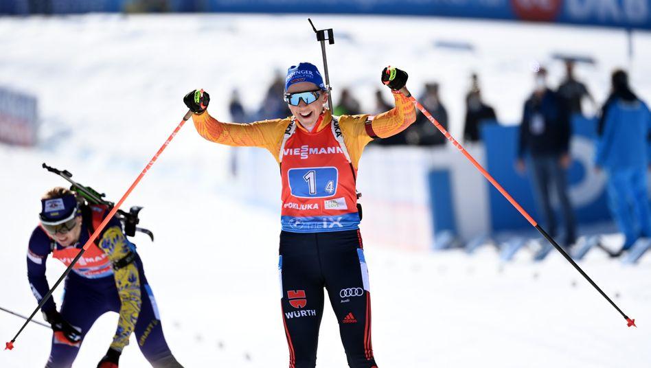 Preuß sicherte im Schlussspurt Rang zwei, als sie um 0,4 Sekunden die Ukrainerin Olena Pidruschna noch abfing