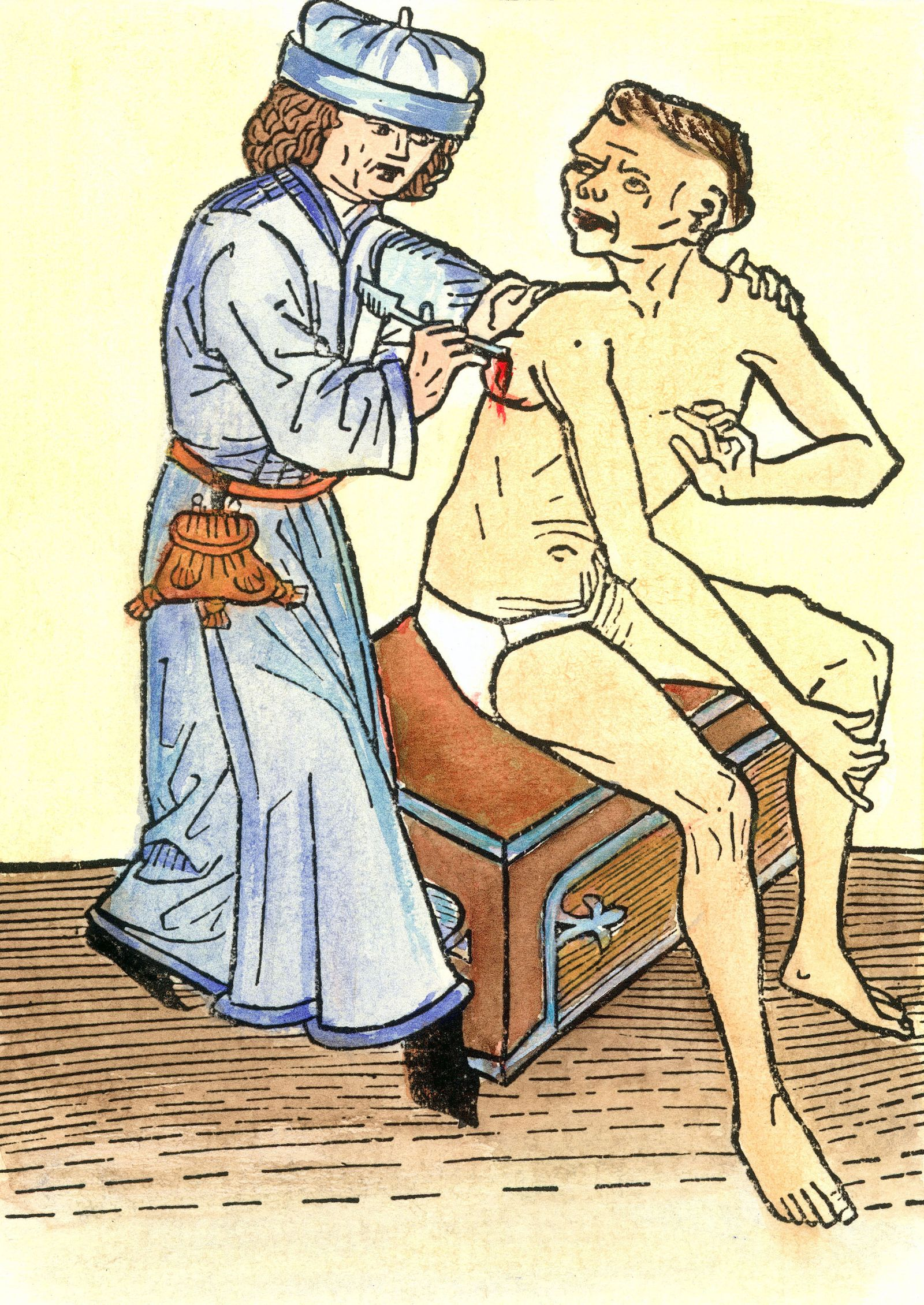 PLAGUE PHYSICIAN, 1482. /nA physician lancing a plague-caused bubo, which probably increased the likelihood of spreading the disease. Color German woodcut, 1482.