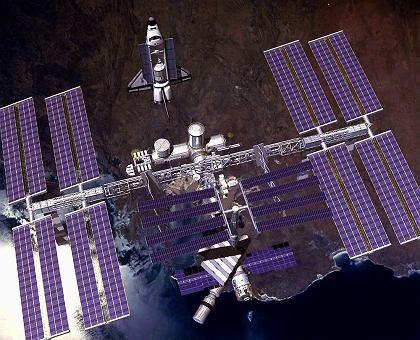 Andockmanöver (Zeichnung): Langsame Annäherung an die ISS