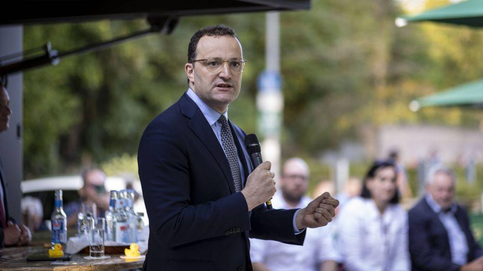 Bundesgesundheitsminister Jens Spahn (CDU) auf einer Wahlkampfveranstaltung in Nagold in Baden-Württemberg