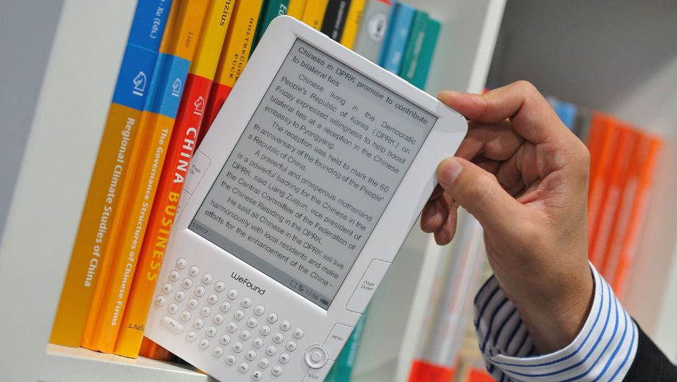 An E-book reader on display at last year's Frankfurt Book Fair.