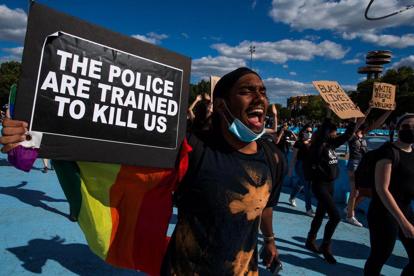 Protesters rally against the death in Minneapolis police custody of Floyd, in the Queens borough of New York City