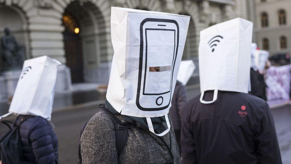 Proteste gegen 5G (Bild aus der Schweiz)
