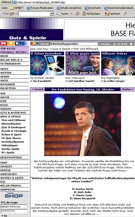 """Screenshot der Sendungswebsite: """"Antwort B ist richtig"""""""
