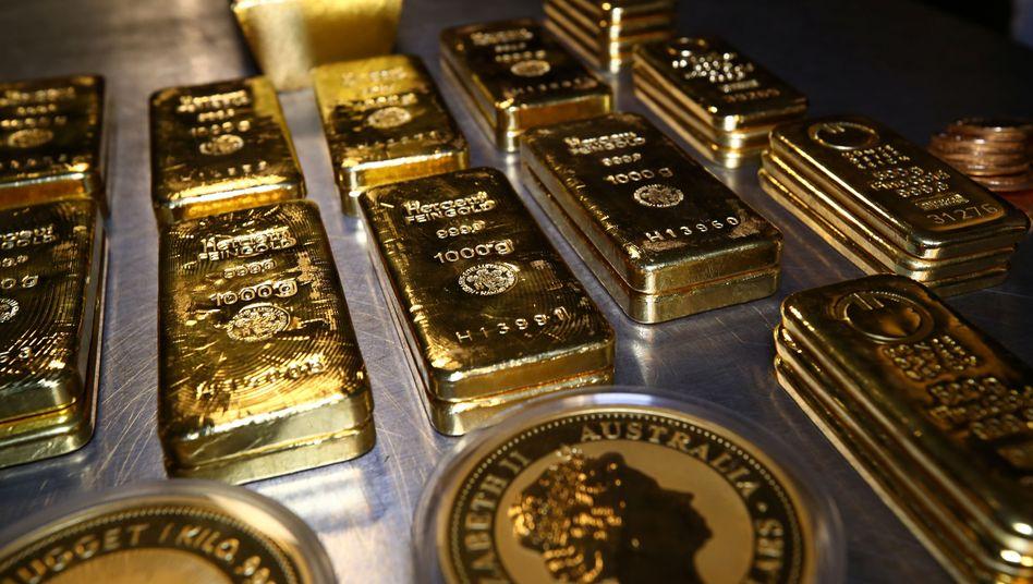 Goldbarren und -münzen: Bei Privatleuten gefragt