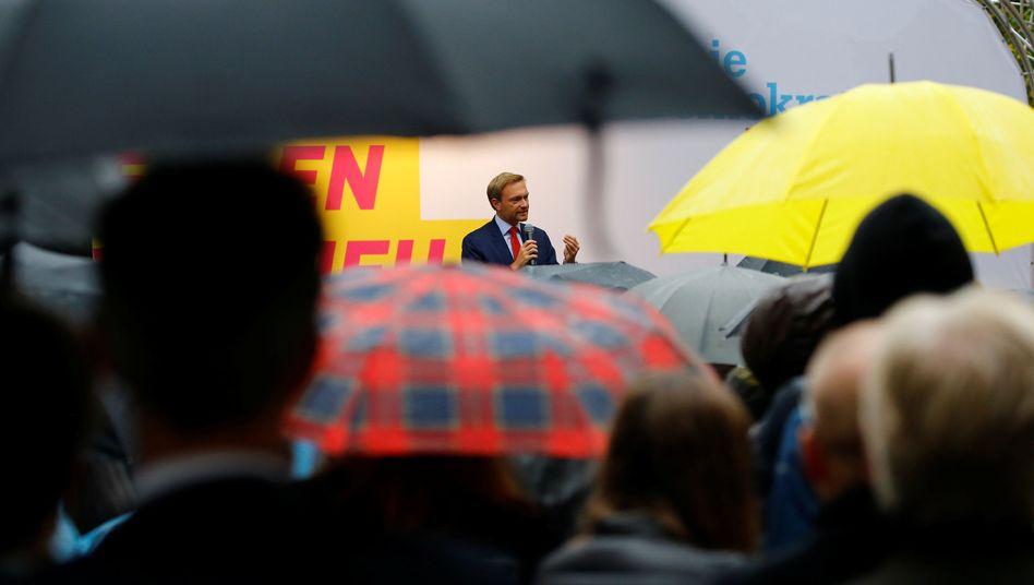 FDP-Chef Lindner bei Wahlkampfauftritt in Hamburg
