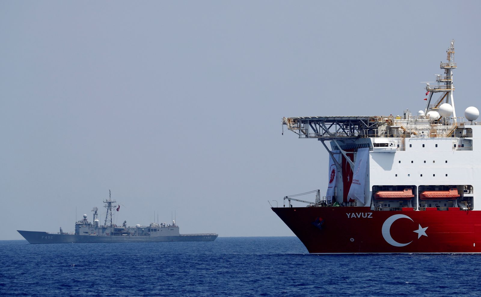 FILE PHOTO: The Turkish drilling vessel Yavuz is seen being escorted by a Turkish Navy frigate in the eastern Mediterranean off Cyprus
