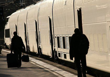 A railway platform on Tuesday. France faces widespread transport and other strikes starting later on Tuesday.