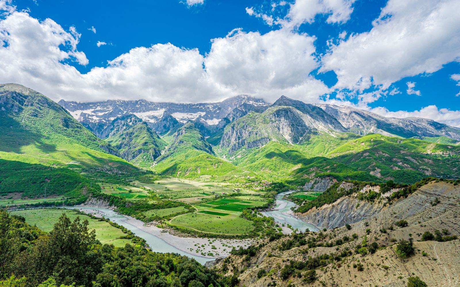 The mountains and the Vjosa River in Albania