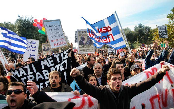 """Proteste am """"Ochi-Tag"""" 2011 in Thessaloniki: Nein zur Sparpolitik"""