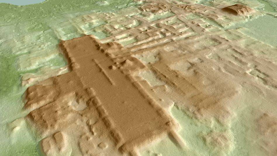 Eine dreidimensionale Ansicht von Aguada Fénix, die auf Basis von Lidar-Daten entstanden ist