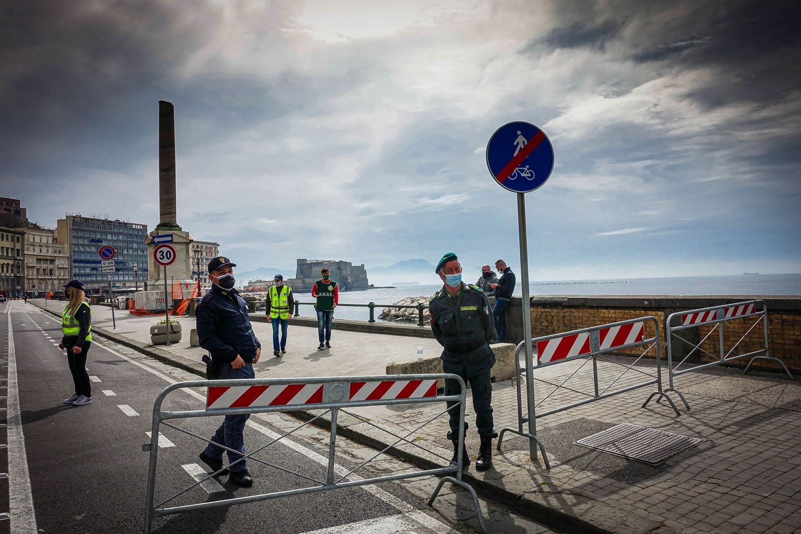 Empty seafront in Naples as Italy spends Easter in Lockdown