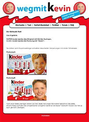 """Weg-mit-Kevin.de im Internet: """"Ferrero stiehlt uns einen Teil unserer Identität"""""""