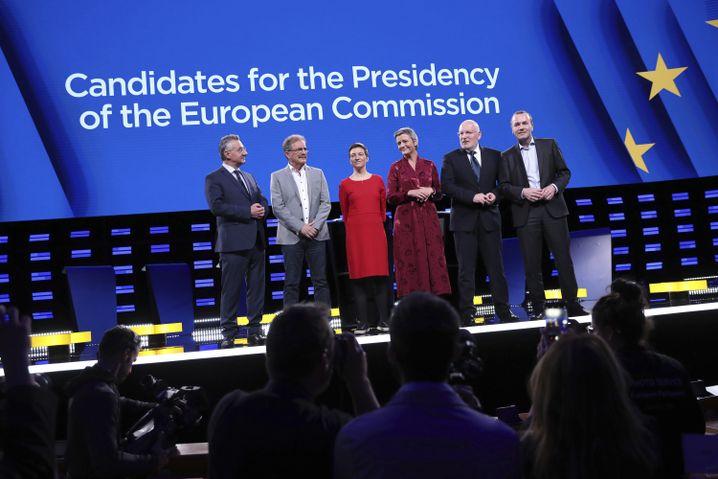 Von links: Jan Zahradil, Nico Cué, Ska Keller, Margrethe Vestager, Frans Timmermans, Manfred Weber