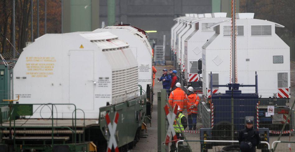 Castorbehälter nach einem Rücktransport aus La Hague (Archivbild)