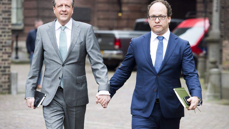 Politiker Pechtold (links), Koolmees