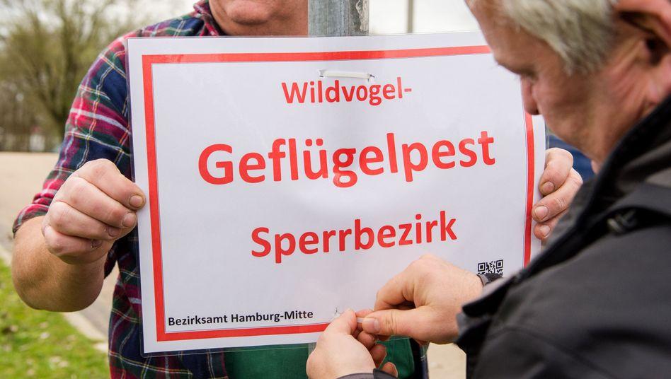 Warnschild in Hamburg
