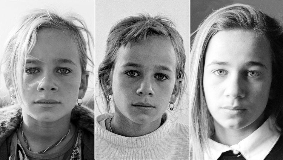 Flüchtlingskind Majida im Alter von neun, elf und 13 Jahren