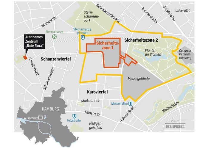 (Derzeit wird die Einrichtung einer blauen Sicherheitszone erwogen, die sich auf weite Teile der Innenstadt erstrecken würde und in der Proteste untersagt sein sollen)