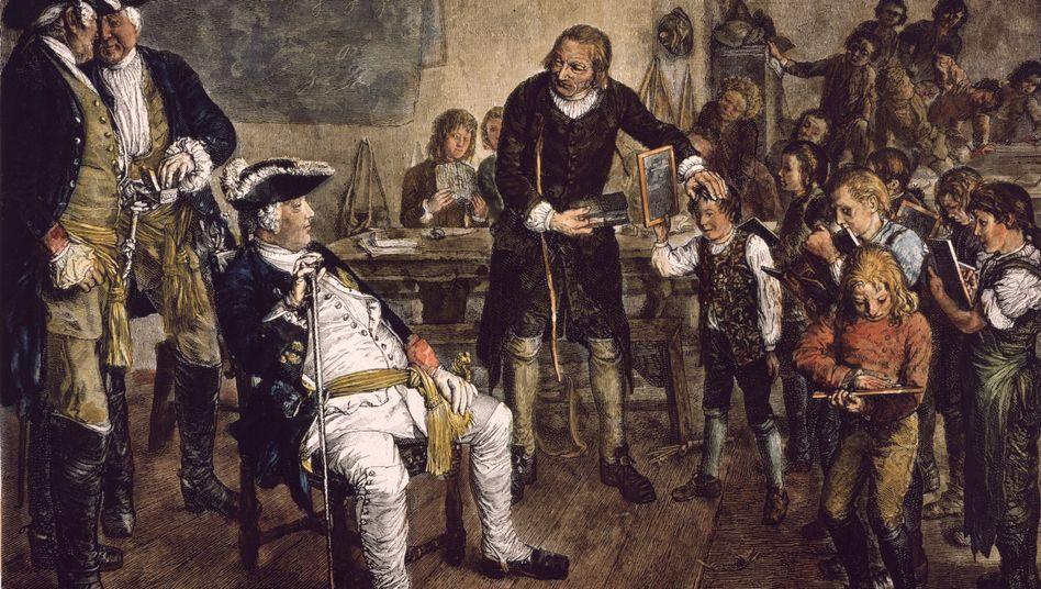 Friedrich Wilhelm I. bei einer Schulinspektion