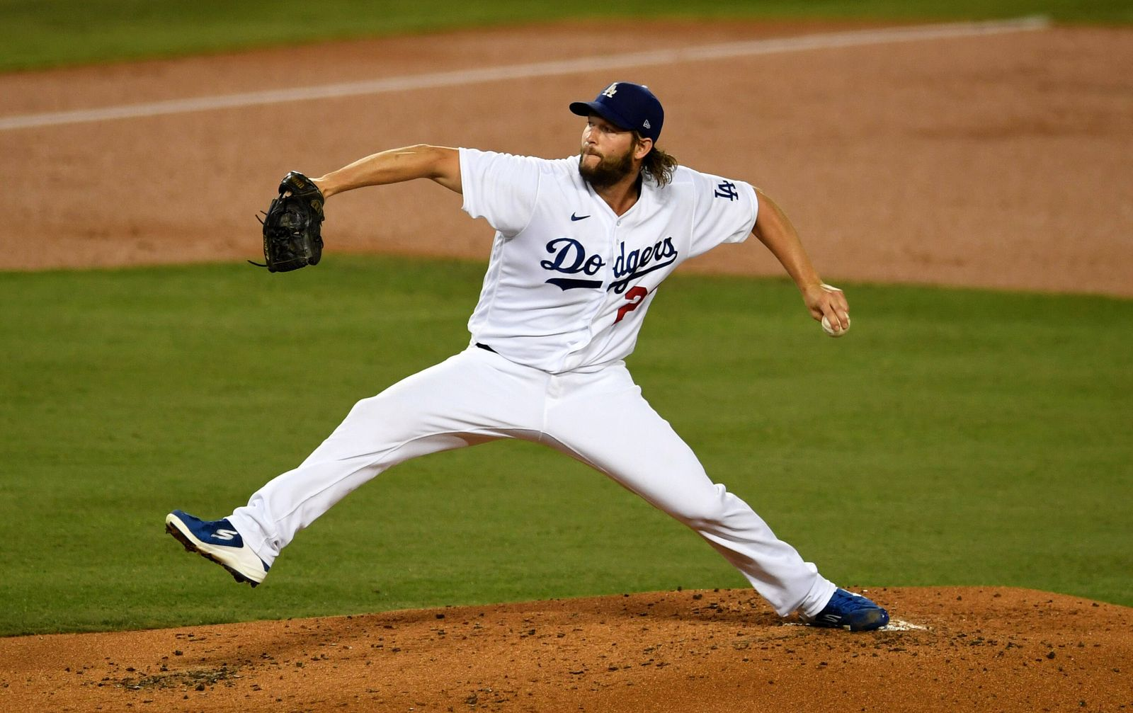 October 1, 2020, Los Angeles, California, USA: Clayton Kershaw 22 of the Los Angeles Dodgers throws to the plate against