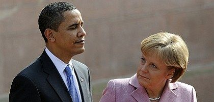 US President Barack Obama and German Chancellor Angela Merkel at a NATO meeting in April.