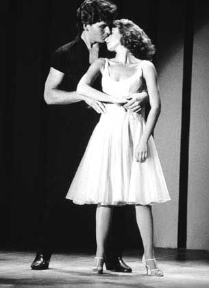 "Patrick Swayze and Jennifer Grey in the 1980s drama ""Dirty Dancing."""