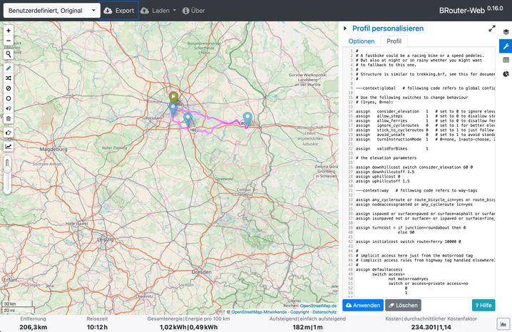 Fortgeschrittene Benutzer erstellen mit BRouter-Web eigene Profile für das Fahrzeug.