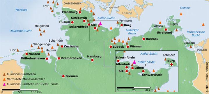 Munitionsgrab: Diese Fundstellen sind den Behörden bekannt oder werden vermutet. Experten gehen jedoch davon aus, dass tatsächlich ein wesentlich größerer Teil der Ostsee betroffen ist