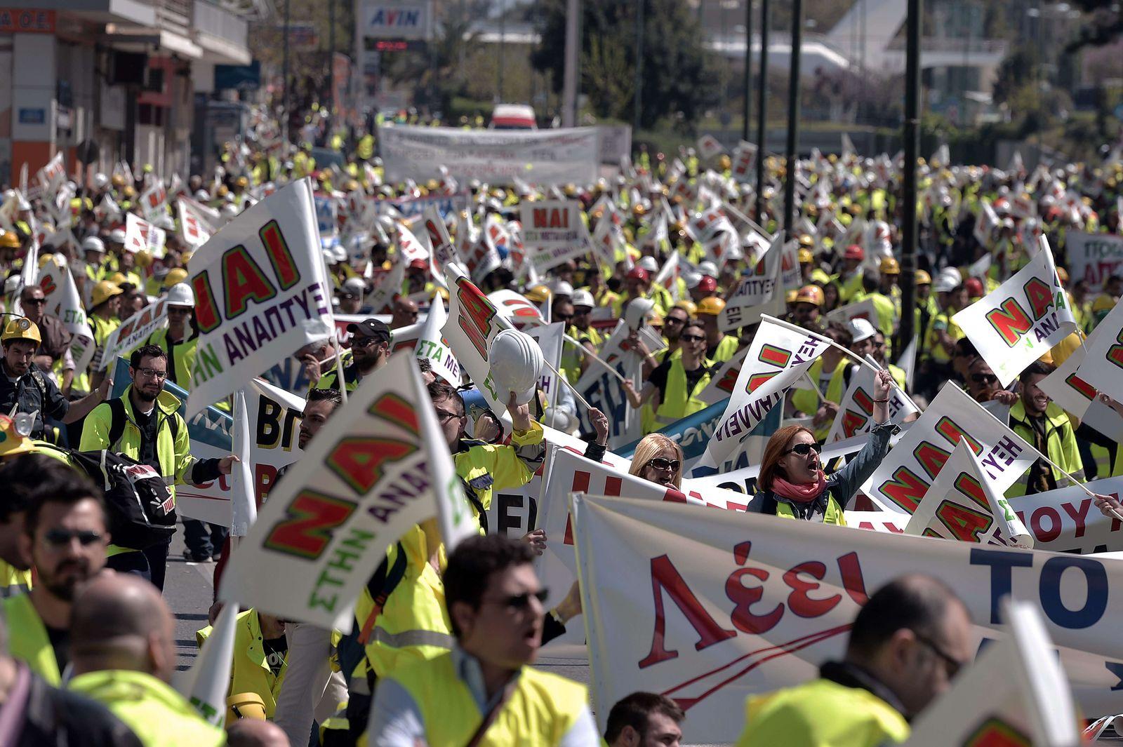 GREECE-POLITICS-ECONOMY-MINES-DEMO Griechenland Goldmine Demo Arbeiter