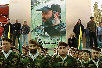 Hizbollah militants stand at attention duringSunday's memorial service for assassinated Hezbollah top commander Imad Mughniyeh.