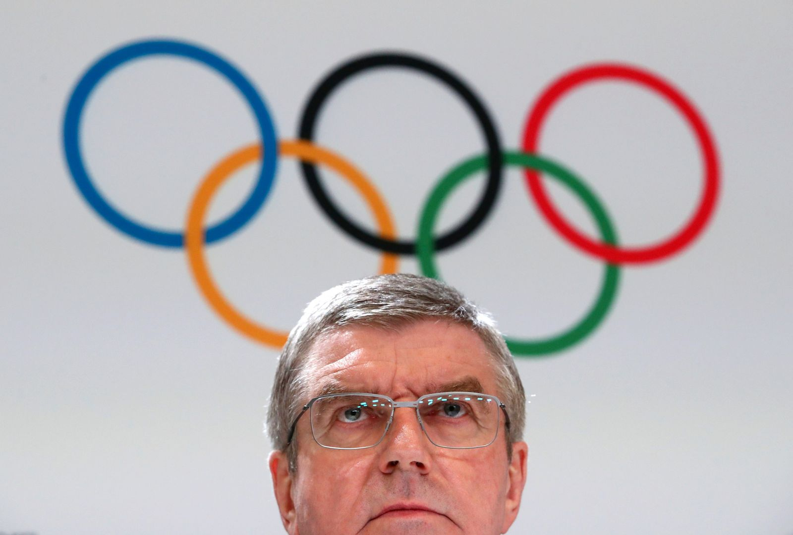 Bach President of the IOC attends a news conference after the 135th Session in Lausanne