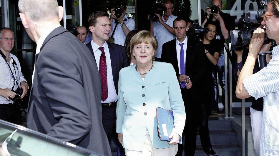 Kanzlerin Merkel vor der Bundespressekonferenz am vergangenen Freitag