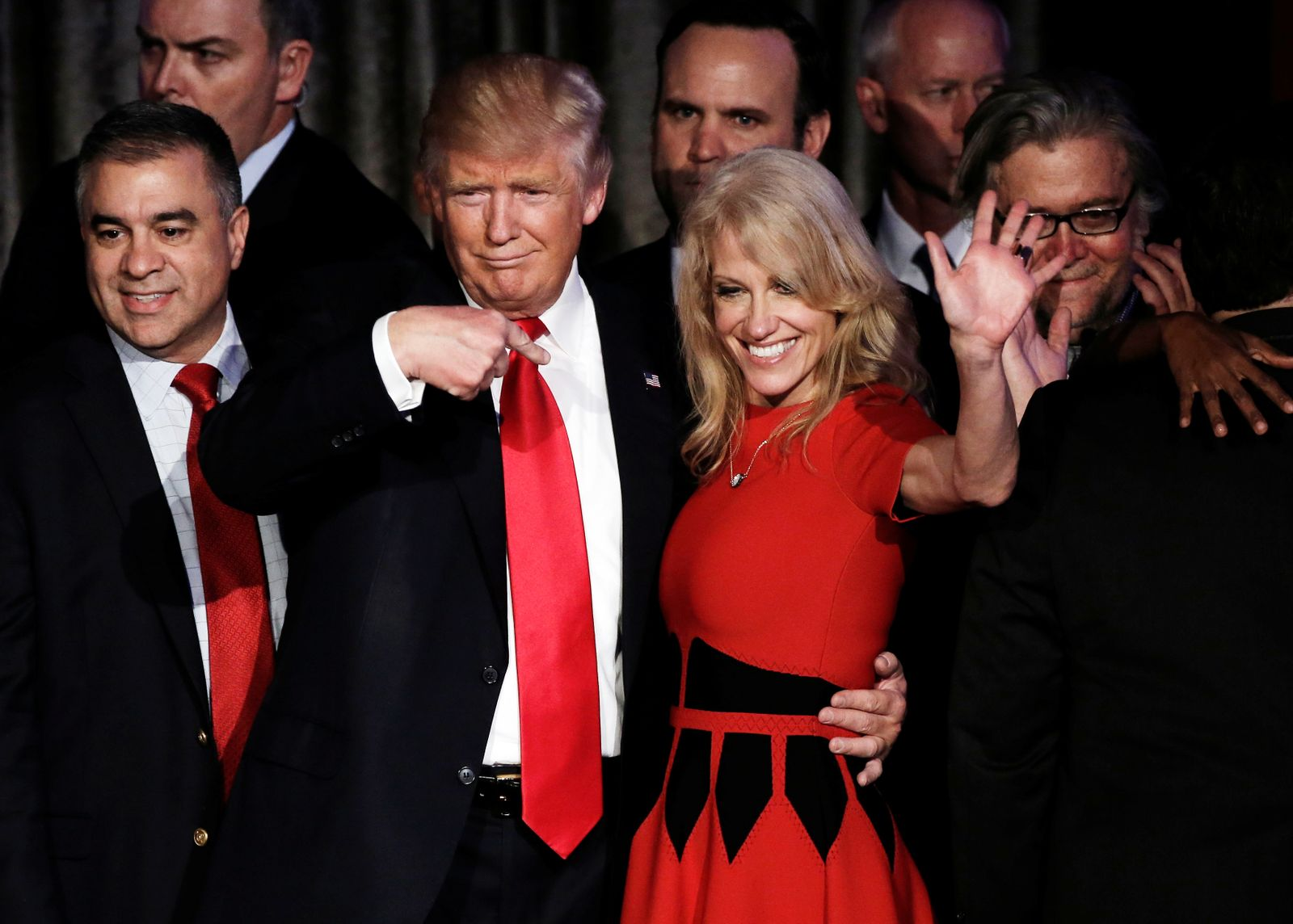 FILE PHOTO - Donald Trump and his campaign manager Kellyanne Conway greet supporters during his election night rally in Manhattan