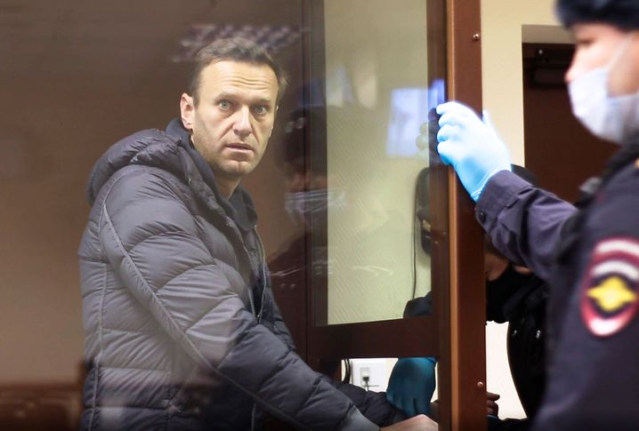 Opposition politician Navalny during his trial in Moscow on Feb. 5.