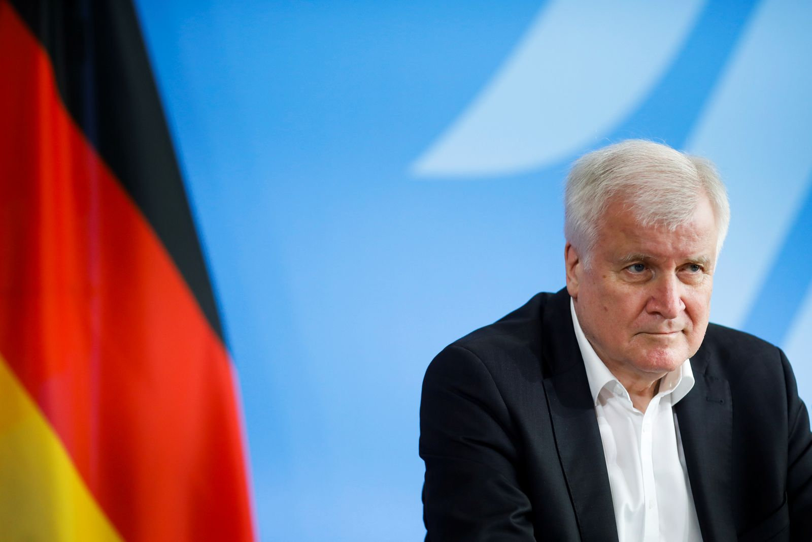 German Interior Minister Horst Seehofer briefs the media after a meeting with his Austrian counterpart Karl Nehammer at the Interior Ministry in Berlin