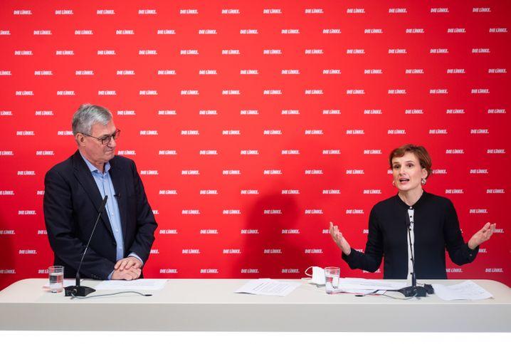 Riexinger und Kipping bei einer Pressekonferenz zum Jahresauftakt der Linken