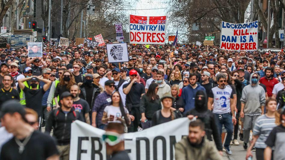 Anti-Lockdown-Demonstration in Melbourne, Australien, im August