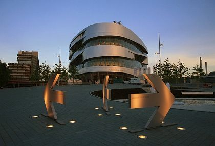 The grand opening of the new Mercedes Museum takes place on Friday.